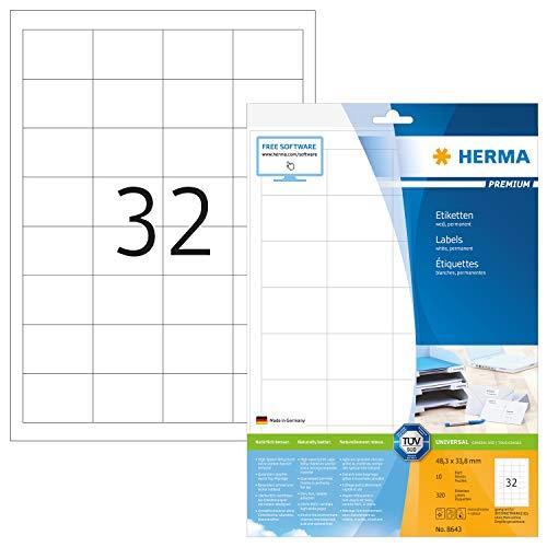 HERMA 8643 Universal Etiketten DIN A4 klein (48,3 x 33,8 mm, 10 Blatt, Papier, matt) selbstklebend, bedruckbar, permanent haftende Adressaufkleber, 320 Klebeetiketten, weiß