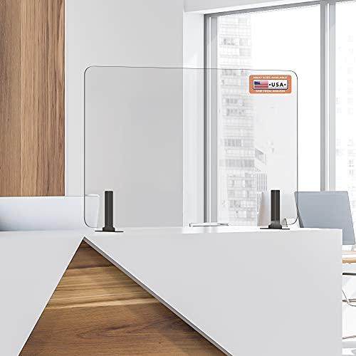 GUARDMATE | Premium Plexiglass Shield Commercial Grade Sneeze Guard | Acrylic Divider Portable Plastic Barrier Shield Reception Desk Cashier Checkout Counter (36' Wide x 24' Tall)