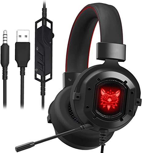 GAKOV Casque de Gaming GAK3 HD avec Micro et Haut-parleurs de 40 mm Super Bass RVB Lumière en métal tissé Doux pour Ordinateur Portable/Mac/Ordinateur Portable PS4