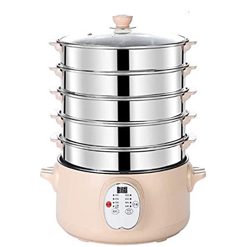 HHTD Hogar Electric Food Steamer Acero Inoxidable Tiempo Programación Multi función Comida Steamer