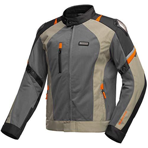 Nerve Shop Leichte DünneMesh Motorradjacke -Latitude-RollerMotorrad Jacke Herren Kurze Textil MännerProtektorenjacke Sommerjacke Luftdurchlässig - schwarz-olive - XL