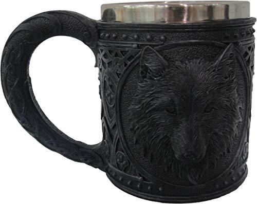 Nemesis Now Night Wolf Tankard-Taza (13 cm), Color Negro, Size 13cm