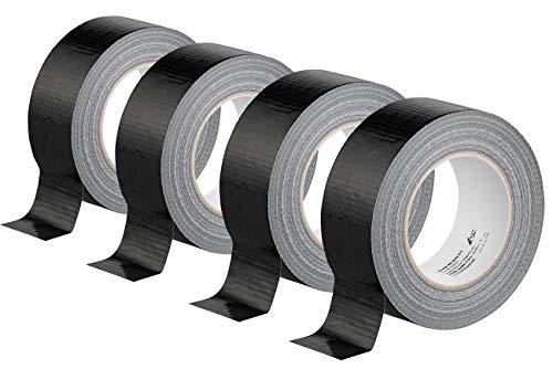 AGT Gewebeband Kfz: 4er-Set Gewebe-Klebeband, reißfest, 48 mm breit, 0,17 mm dick, schwarz (Masking-Tape)
