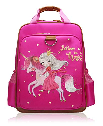 Girls Backpack Unicorn 15'| Pink Kids School Bag for Kindergarten or Elementary (Pink Unicorn) (Princess)