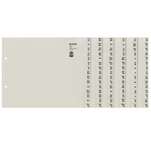 Leitz Register, Trennblätter mit Taben und alphabetischem Aufdruck A-Z für 24 Ordner, Halbe Höhe und Überbreite, Grau, 100% recyceltes Papier, Blauer Engel Siegel, 13240085