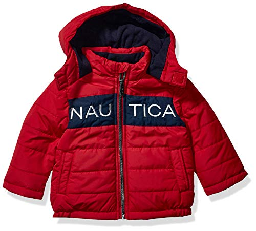 Nautica Baby Boy's Water Resistant Logo Bubble Jacket Outerwear, Red Rouge, 18M