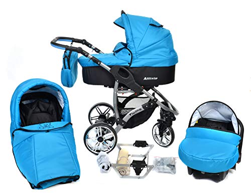ALLIVIO, 3-in-1 Travel System with Baby Pram, Car Seat, Pushchair & Accessories (3in1 Travel System -Baby tub, Sport seat, Car seat, Black & Blue)