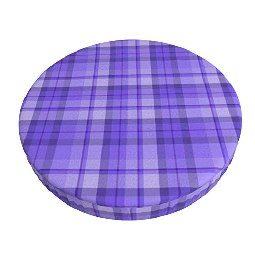 Round Bar Stools Cover,Blueberry Purple Plaid,Stretch Chair Seat Bar Stool Cover Seat Cushion Slipcovers Chair Cushion Cover Round Lift Chair Stool