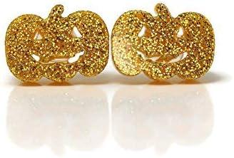 Metal Free Plastic Post 10mm Orange Glitter Pumpkin Stud Earrings