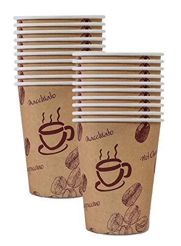 200 STK. Kaffeebecher Premium, Coffee to go, Pappe beschichtet, 200 ml/Hochwertiger hitzebeständiger Coffee to go Becher Bedruckt mit Motiv HOT Beans
