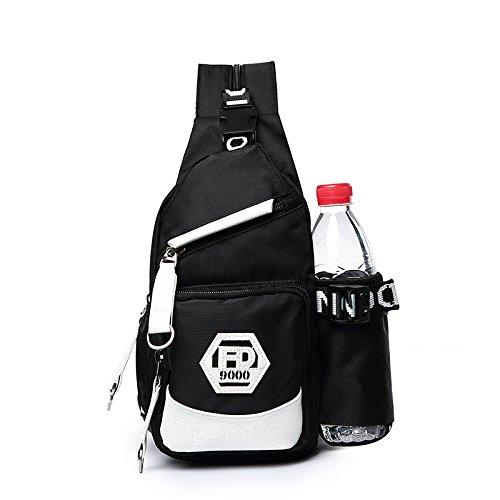 Sac de Poitrine Oxford Voyage Ride Imperméable Grande capacité Transformable Épaule Épaules Pack de poitrine Sac de messager Sling bag , black oxford