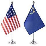 ZXvZYT 2 Pack American US Nevada flag USA Nevada NV State table flag,Small Mini United States Desk Flags With Stand Base,for U.S. States Party Events Celebration Decorations Supplies