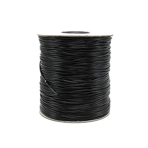 Anyasen Cuerda Encerada Cuerda Encerada Hilo de Cordón de Cera Trenzado para hacer joyas, coser, manualidades, 2mm x 80m, Negro
