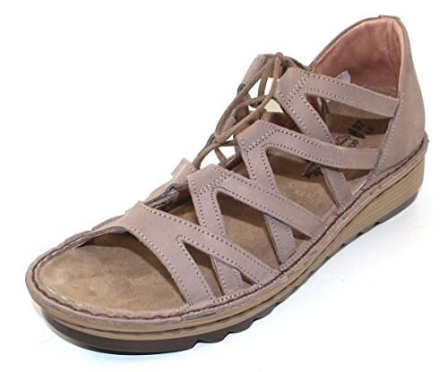 NAOT Footwear Women's Yarrow Lace up Sandal Stone Nubuck 11 M US