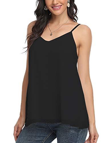 ANYFIT WEAR Damska elegancka bluzka bez rękawów, szyfonowa bluzka z dekoltem w kształcie litery V, luźna bluzka na plażę, czarny/biały, S-XXXL