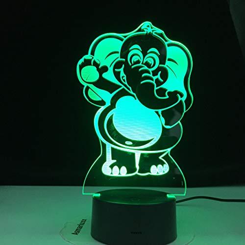 Animal creativo elefante 3D lámpara de mesa luz de noche LED multicolor USB ilusión gradiente decoración de vacaciones regalo