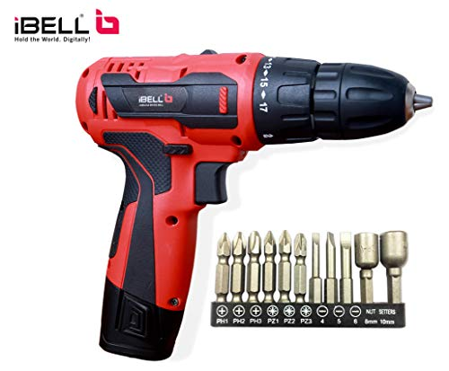 Ibell Cordless Drill Cd12-74 12-Volts Li-Ion Double Battery And Bmc Box (10-15Mm, Red)