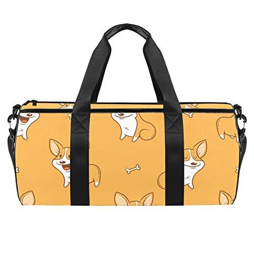 LAZEN Hombro Handy Sports Gym Bags Travel Duffle Totes Bag para hombres mujeres dibujos animados divertidos Corgi Bones Pattern