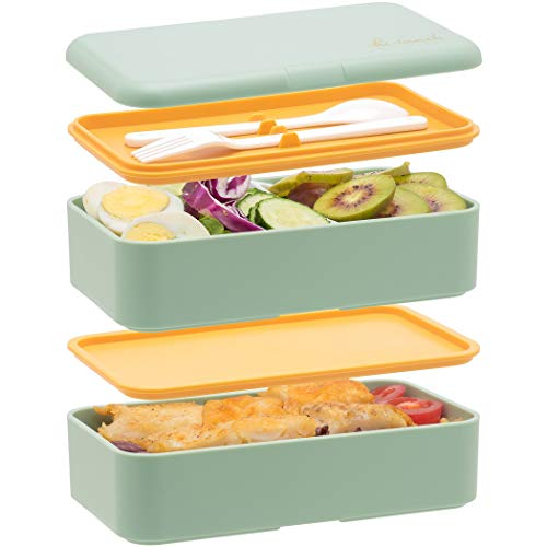 Bento Box For Adults Kids- All-in-One Stackable Premium Japanese Adult Bento Box Container With Utensil, Durable Eco-Friendly, Micro-Waves & Freezer Safe, 1200ML(Green)