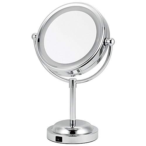 YLL 6 Pouces LED Maquillage Recto-Verso Miroir de Bureau avec Lampe Beauté Miroir 3 Fois 5 Fois Grossissement Vanity Mirror USB Plug-in