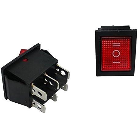 5x Umschalter 2polig 250v 16a I 0 Ii 31x26mm Rot Wippschalter Beleuchtung
