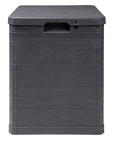 Ondis24 Aufbwahrungsbox Madera Mini Holz-Optik 90L abschließbar Truhe Kissenbox (Anthrazit)