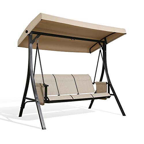 Patio 3-Seat Textilene Porch Hammock Outdoor Swing Glider with Stand and Adjustable Polyester Canopy (Brown)