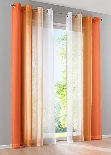 2er Pack Gardinen Vertikal Farbverlauf Druck Transparent »Modena« mit Ösen und Raffhalter, Vorhang, Dekoschal HxB 225x140 cm Orangetöne, 10000183