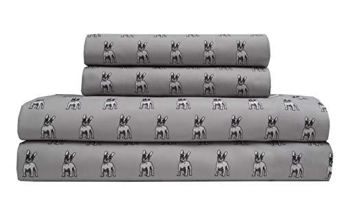 TORREY LANE Microfiber 90 GSM Printed Sheet Set, King, Grey Bulldog