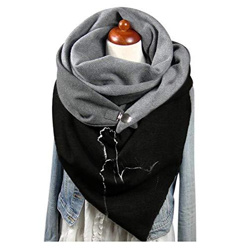 Générique Femme Écharpe Triangle Mode Foulards Écharpes avec Bouton Rétro Décontractées épaisse en Laine Hiver Chaud Châles,Foulard à imprimé Chat Vintage