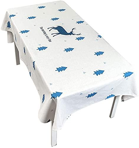 MUZIDP Mantel nórdico azul impermeable de tela de algodón y lino, mantel pequeño y fresco, rectangular para sala de estar, redondo (tamaño: 140 x 180 cm)