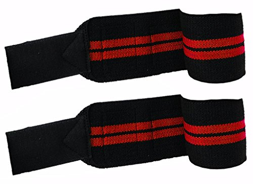 Kobo Power Wrist Weight Lifting Training Gym Straps With Thumb Support Grip Gloves (Black:Red)