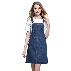 Women`s Pinafore Overall Denim Dress A Line Junior Jeans Skirt with Pockets