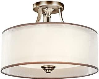 Kichler 42386AP Lacey Semi-Flush 3-Light, Antique Pewter