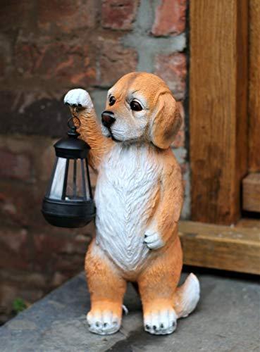 HH Home Hut Garden Ornament Solar Powered Animal Puppy Dog Lamp Decor Patio