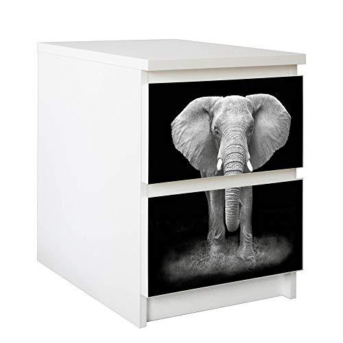 banjado Möbelfolie passend für IKEA Malm Kommode 2 Schubladen | Selbstklebender Möbel-Sticker | Aufkleber Tattoo perfekt für Wohnzimmer und Kinderzimmer | Klebefolie Motiv Ella