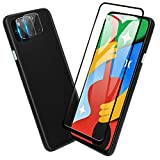 [3 in 1] TopACE for Google Pixel 4a 5G Screen Protector, Camera Protector & Screen Protector Tempered Glass[Bubble Free][HD][Case Friendly][High Responsivity] Compatible for Google Pixel 4a 5G