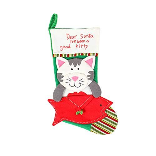 Nicedier-Tech Atmósfera de Navidad Medias de Sobres del Gato del calcetín Hangable Calcetines Calcetines Mascotas...