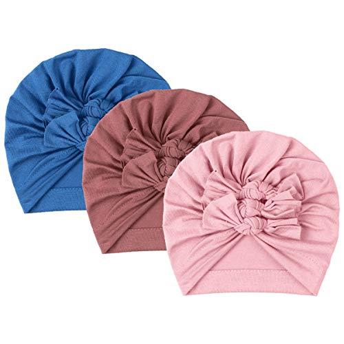 Freebily 1 / 3Pc Bonnets Unisexe Bébé Nouveau né Coton Turban Hôpital Chapeaux Bébé Garçon Fille Cadeau Fête Noël Naissance Foulard Headwear 10 Mois - 4 Ans Type Q Taille Unique