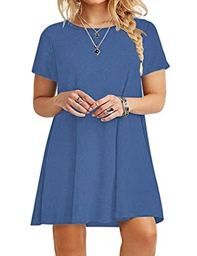 KARALIN Women's Short Sleeve Casual Plain Loose Plus Size T-Shirt Dress(14W,Beja Blue)