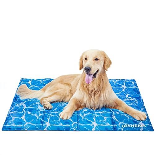 Iokheira Alfombrilla de Refrigeración para Perro Extra Grande 120x75cm, Camas refrescante para Mascotas, Alfombra Fría de Gel No tóxico, Perros, Gatos y Animales en el Cálido Verano