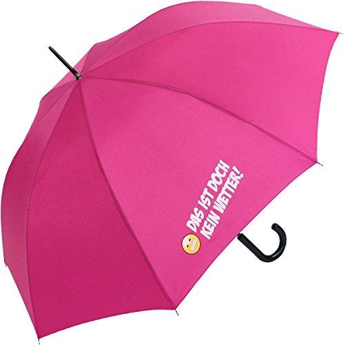 Stockschirm für Damen und Herren mit Automatik - Bedruckt Das ist doch kein Wetter! - pink