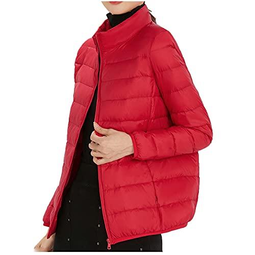 URIBAKY - Chaqueta ligera de color liso, con cuello alto de plumón, de manga larga, con capucha, forro de plumón, informal, plumón, algodón, parka Slim Fit impermeable, rojo, XL