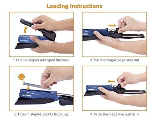 Bostitch Office Executive Stapler - 3 in 1 Stapler - One Finger, No Effort, Spring Powered Stapler, Navy Blue Photo #2