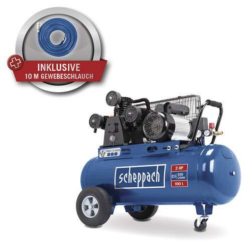 Scheppach Profi Kompressor HM100TC 230V 3 Zylinder, 10bar, 100l mit Riemenantrieb, 10meter Gewebeschlauch, 360 Grad Rolle