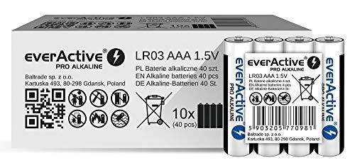 everActive AAA Batterien 40er Pack, Pro Alkaline, Micro LR03 R03 1.5V, höchster Leistung, 10 Jahre Haltbarkeit, 40 Stück