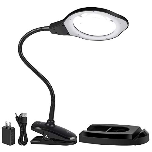 Magnifying Glass lamp, Dylviw 2X Magnifier Light with Metal clamp, Table Base Holder USB Powered Classic Black Portable Clip Desktop Magnifying lamp, Great for Daily Reading, Hobbies, Workbench