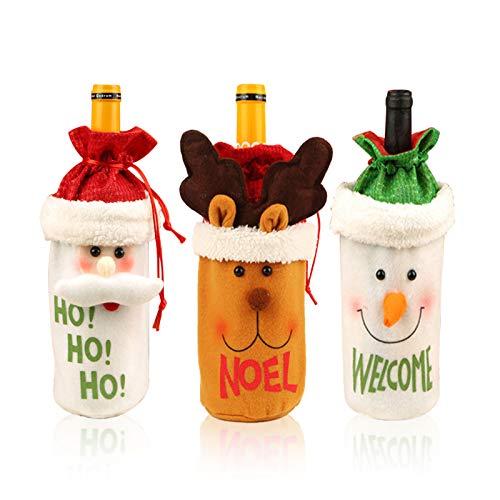 3 Pezzi Natalizie Borsa per Bottiglia di Vino di Natale Riutillizabile Decorazione Bottiglia di Natale Copribottiglia Natale Decorazioni Babbo Natale Borse Natalizie Vino Rosso Coulisse Pupazzo Neve