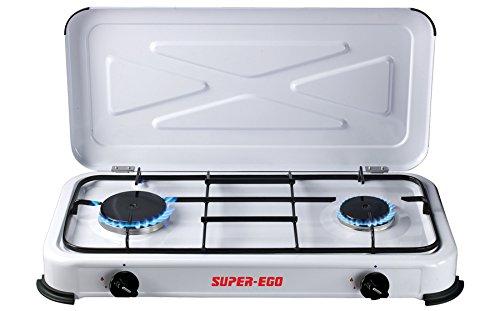 SUPER EGO SEH024800 Cocina gas portátil, Blanco, 60x10x30