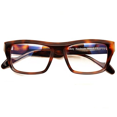 Khoty Hand Made Streamline Vintage Retro Big Plate Men Women Myopia Eyeglasses Frame Spectacles Glasses (Tortoise)